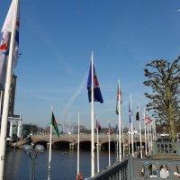 Весна на озере Альстер (серия). Мост, флаги, платаны :: Nina Yudicheva