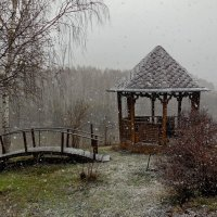 Весенний снегопад на даче. :: Пётр Сесекин
