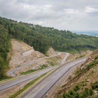 Дорога на Белокуриху2,красивый дорожный серпантин! Алтай. :: Анна Печкурова