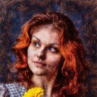 Портрет рыжеволосой девушки с цветком. :: Василий Ярославцев