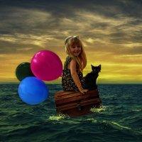 Приключения маленькой девочки и чёрного  котёнка :: Андрей Веселов ( Богомолов)