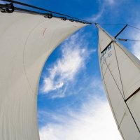 Белые паруса на фоне легких белых облаков наполненные ветром :: Ирина Виноградова