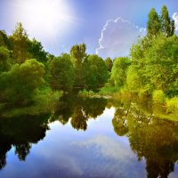 Какие дивные места: Лесов могучих край, Река зовущая чиста - Прохладу набирай. :: Алла Кочергина