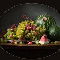 Натюрморт с виноградом и арбузами в паспарту :: Татьяна Карачкова