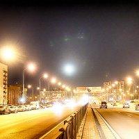 Питер ночной Дунайский проспект в полнолуние :: Юрий Плеханов