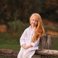 Маленькая рыжая деревенская девочка на заборе) :: Наталья Мирошниченко