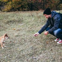Мужчина и щенок :: Евгения Ламтюгова
