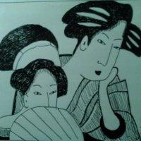 """Моя графика """"Японская пара"""". (1 ноября 2017 год). :: Светлана Калмыкова"""