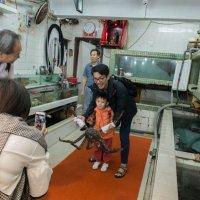 Мальчик с папой фотографируются с живым крабом на рыбном рынке :: Sofia Rakitskaia