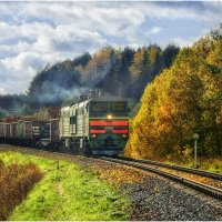 Осний пейзаж с товарняком :: Алексей Румянцев