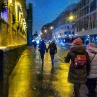 Смеркалось. Роились снежинки вокруг фонарей… :: Ирина Данилова