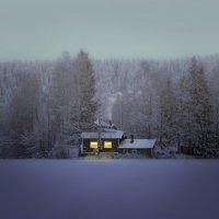 Домик у замерзшего озера. :: Лилия .
