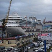 """Туристический лайнер """"Сапфировая принцесса"""" у причальной стенки морского вокзала :: Евгений Поварёнков"""
