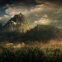 горы, птицы, деревья, облака, туман. :: Александр