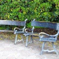 В Пейзажном саду можно присесть на необычную  скамью выполненную из металла с фактурой дерева. :: Валерий Новиков