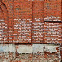 Именные кирпичи в  стене храма Свято Лаврентьева монастыря :: Лариса Вишневская