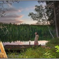 Июньская ночь на озере Долгом. :: Валентин Кузьмин