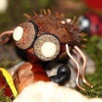 Паук из каштана, шляпок желудей, проволоки и пластилина :: Dmitry Saltykov