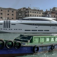 Venezia. Yacht di mare e Barca a motore di carico. :: Игорь Олегович Кравченко