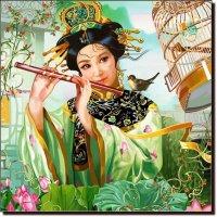 Солист соловей, аккомпанирует флейта.  (работа выполненная на графическом планшете Huion.) № 56 :: Anatol Livtsov