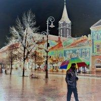 Ночной пейзаж или мужчина с зонтом :: Лара Амелина