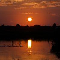 Закатное солнце и его отражение :: Дмитрий Симонов