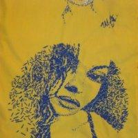 Monica Bellucci. Авторская ручная вышивка нитками мулине на рубашках. :: Алим Шаваев