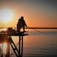 Рыбалка на закате.Река Обь. :: Рустам Илалов