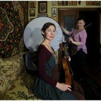 Porträt von Maria mit Geige :: Михаил Зобов