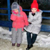 Сестрички на лавочке зимой :: Александр Бойченко