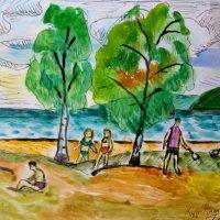 """Моя акварель """"Пляж"""". (п. Солнечное, Финский залив). :: Светлана Калмыкова"""
