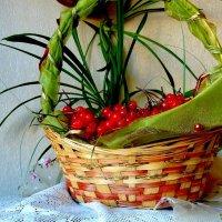 Осенняя композиция с калиной в корзине :: Лидия Бараблина
