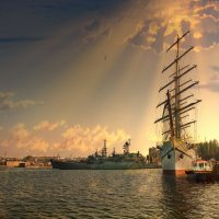 Парусный трёхмачтовый фрегат Херсонес. :: Анна Пугач