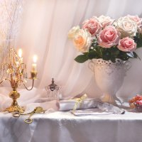 ...букетом из роз любовалась и нежно грустила душа... :: Валентина Колова