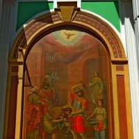 Храмовый образ на фасаде Колокольни церкви Усекновения Главы Иоанна Предтечи под Бором :: Александр Качалин
