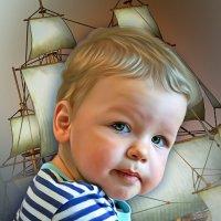 Моряк.Детский портрет по фото,коллаж,отрисовка. :: Светлана Кузнецова