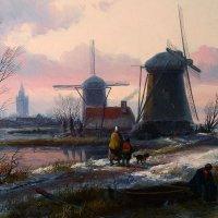 Жан Якоб Сполер (1837-1894). Зимний пейзаж, 19 век. Фрагмент :: halloART.ru Изобразительное искусство