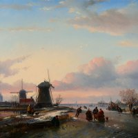 Жан Якоб Сполер (1837-1894). Зимний пейзаж, 19 век. :: halloART.ru Изобразительное искусство