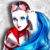 Glamorous girl in pin-up style glasses with a blue scarf. :: Герман