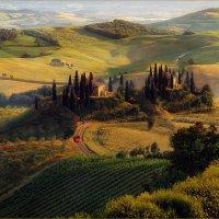Пейзаж с красным автомобилем :: Виктор Перякин