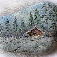 Рисунок маслом на камушке :: Алёна Михеева