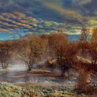 утро, туман над речкой, легкий морозец.поздняя осень :: юрий макаров