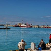 в Сочинском порту: местные рыбаки :: Александр Сендеров