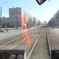 Вид из кабины водителя трамвая - Улица Купчинская (04.04.2009) :: Владимир Варивода