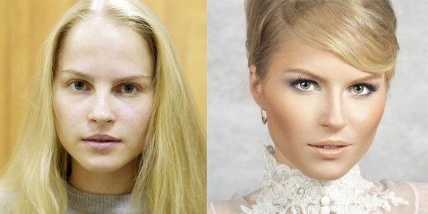 Красивые девушки до макияжа и после