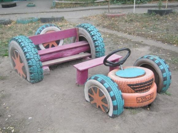 Детские площадки своими руками из шин фото