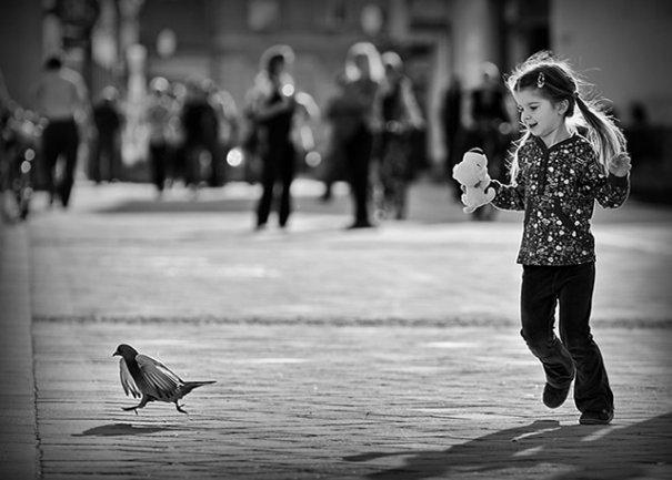Девочка, бегающая по парку за голубем..ведь поймает!