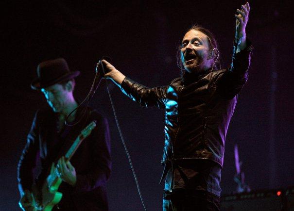 Том Йорк и Эд О'Брайен, выстпление группы  Radiohead, фото: Chris Pizzello