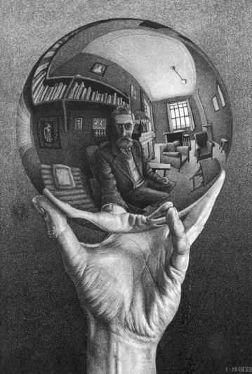 5 М.Эшер. Рука и зеркальный шар