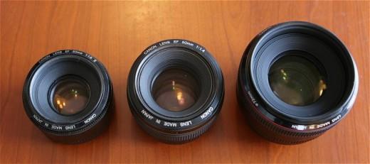 Cлева направо: 50 mm f/1.8, 50 mm f/1.4 и 50 mm f/1.2 Series L.